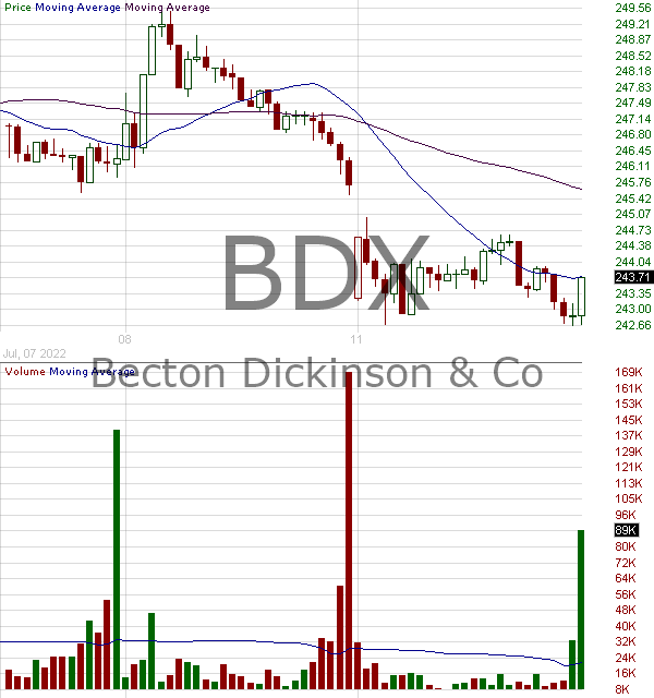 BDX - Becton Dickinson and Company 15 minute intraday candlestick chart with less than 1 minute delay
