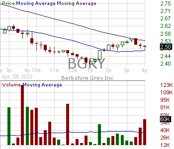 BGRY - Berkshire Grey Inc. 15 minute intraday candlestick chart ~15 minute delay