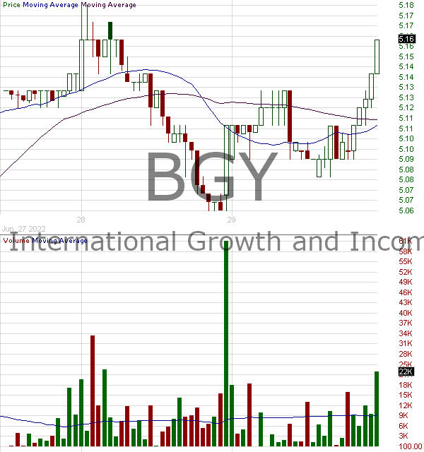 BGY - Blackrock Enhanced International Dividend Trust 15 minute intraday candlestick chart with less than 1 minute delay