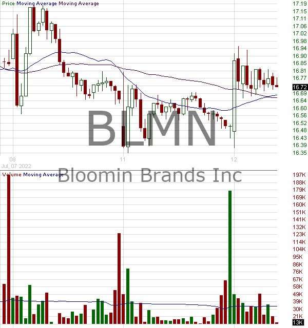 BLMN - Bloomin Brands Inc. 15 minute intraday candlestick chart with less than 1 minute delay