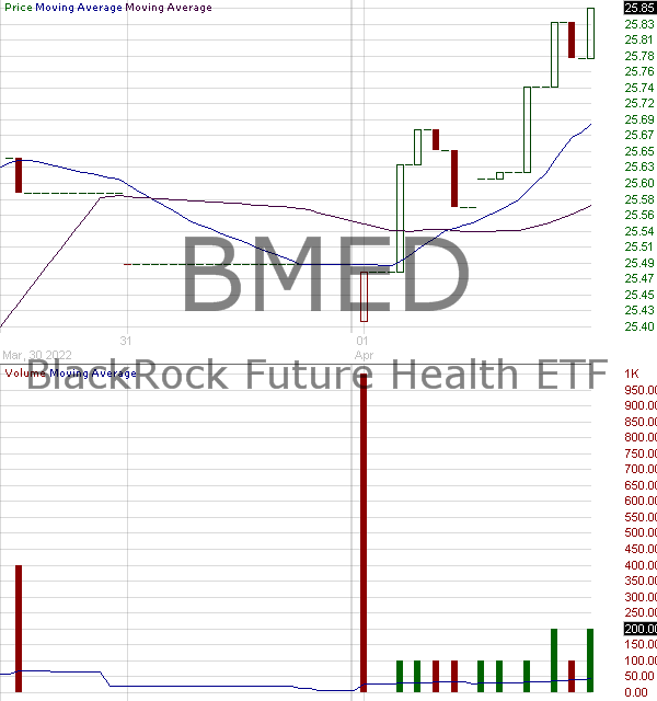 BMED - BlackRock Future Health ETF 15 minute intraday candlestick chart with less than 1 minute delay