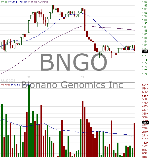 BNGO - Bionano Genomics Inc. 15 minute intraday candlestick chart with less than 1 minute delay
