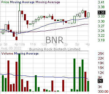 BNR - Burning Rock Biotech Limited - ADR 15 minute intraday candlestick chart with less than 1 minute delay