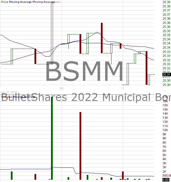 BSMM - Invesco BulletShares 2022 Municipal Bond ETF 15 minute intraday candlestick chart with less than 1 minute delay