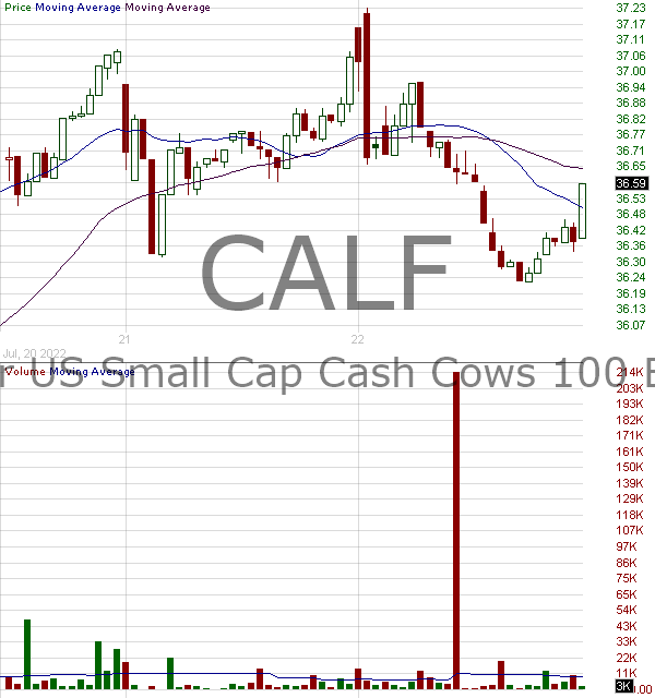 CALF - Pacer US Small Cap Cash Cows 100 ETF 15 minute intraday candlestick chart with less than 1 minute delay