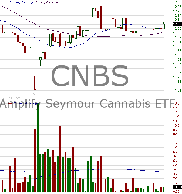 CNBS - Amplify Seymour Cannabis ETF 15 minute intraday candlestick chart with less than 1 minute delay