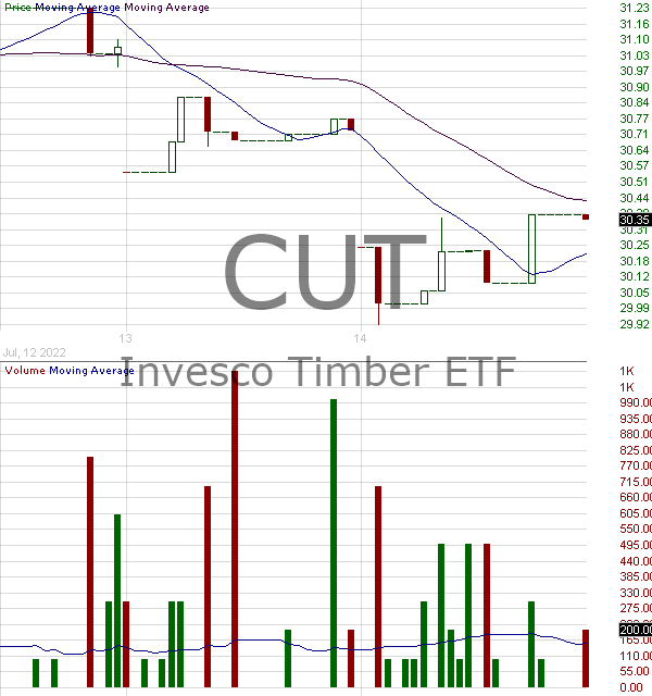 CUT - Invesco MSCI Global Timber ETF 15 minute intraday candlestick chart with less than 1 minute delay
