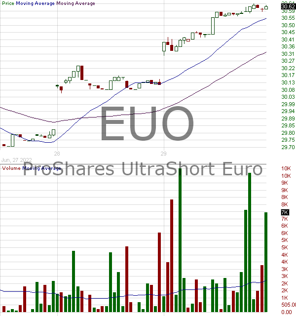 EUO - ProShares UltraShort Euro 15 minute intraday candlestick chart with less than 1 minute delay