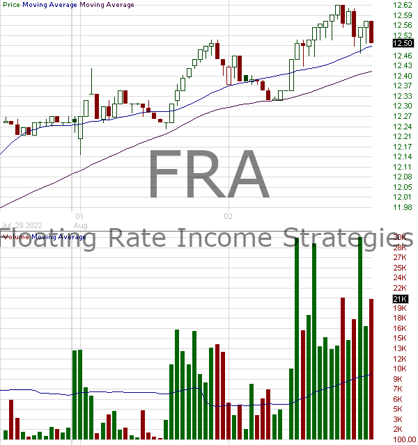 FRA - Blackrock Floating Rate Income Strategies Fund Inc 15 minute intraday candlestick chart with less than 1 minute delay