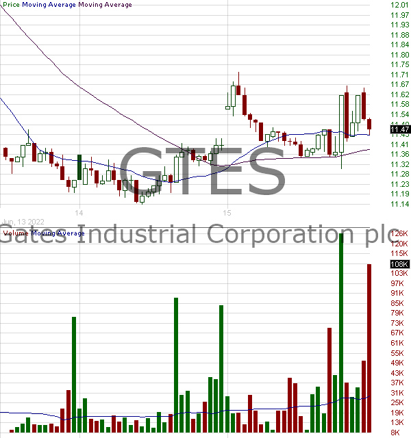 GTES - Gates Industrial Corporation plc Ordinary Shares 15 minute intraday candlestick chart with less than 1 minute delay