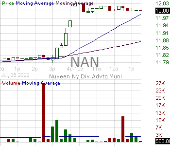 NAN - Nuveen New York Quality Municipal Income Fund 15 minute intraday candlestick chart with less than 1 minute delay