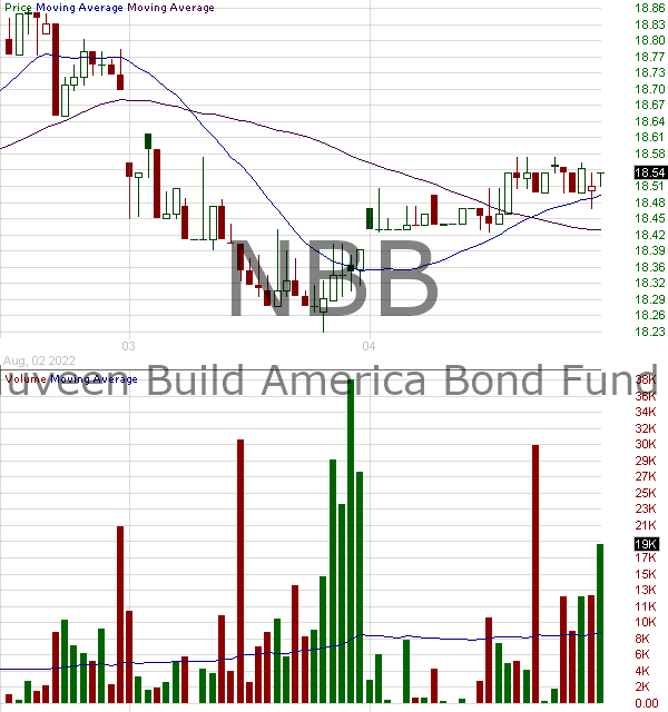NBB - Nuveen Taxable Municipal Income Fund 15 minute intraday candlestick chart with less than 1 minute delay