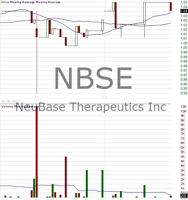 NBSE - NeuBase Therapeutics Inc. 15 minute intraday candlestick chart with less than 1 minute delay