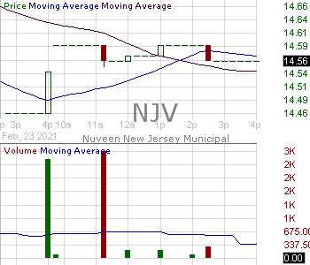 NJV - Nuveen New Jersey Municipal Value Fund 15 minute intraday candlestick chart with less than 1 minute delay