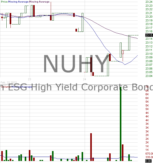 NUHY - Nuveen ESG High Yield Corporate Bond ETF 15 minute intraday candlestick chart with less than 1 minute delay