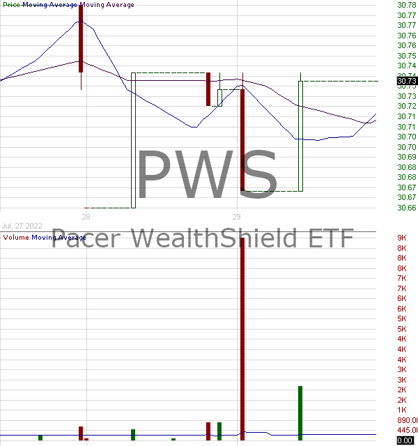 PWS - Pacer WealthShield ETF  15 minute intraday candlestick chart with less than 1 minute delay