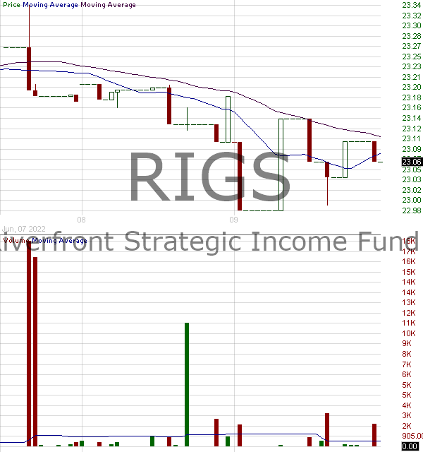 RIGS - RiverFront Strategic Income Fund 15 minute intraday candlestick chart with less than 1 minute delay