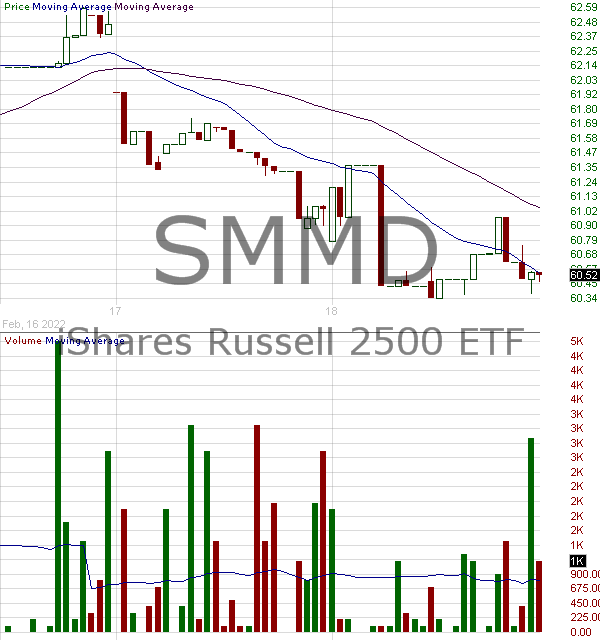 SMMD - iShares Trust Russell 2500 ETF 15 minute intraday candlestick chart with less than 1 minute delay