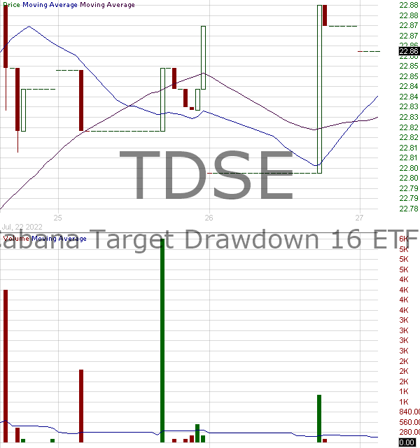 TDSE - Cabana Target Drawdown 16 ETF 15 minute intraday candlestick chart with less than 1 minute delay