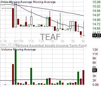 TEAF - Tortoise Essential Assets Income Term Fund 15 minute intraday candlestick chart with less than 1 minute delay