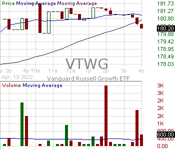 VTWG - Vanguard Russell 2000 Growth ETF 15 minute intraday candlestick chart with less than 1 minute delay