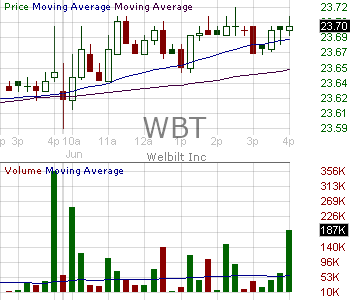 WBT - Welbilt Inc. 15 minute intraday candlestick chart with less than 1 minute delay