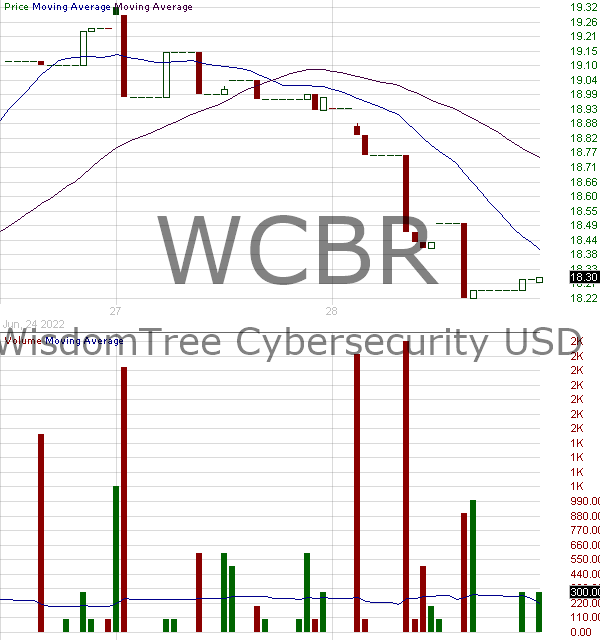 WCBR - WisdomTree Cybersecurity Fund 15 minute intraday candlestick chart with less than 1 minute delay