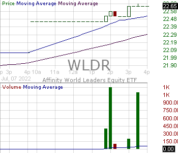 WLDR - Affinity World Leaders Equity ETF  15 minute intraday candlestick chart with less than 1 minute delay