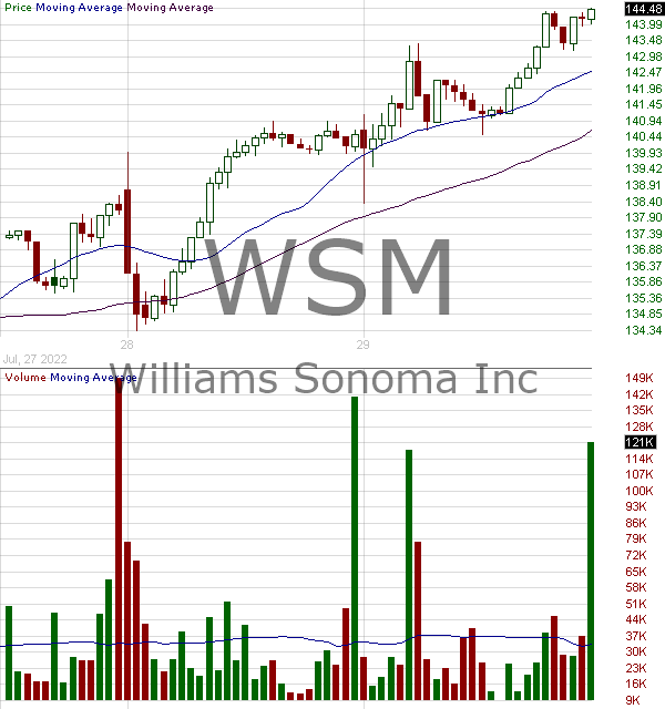 WSM - Williams-Sonoma Inc. (DE) 15 minute intraday candlestick chart with less than 1 minute delay