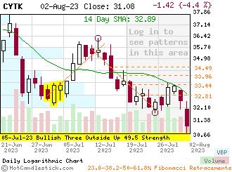 CYTK - Small Daily Candlestick Stock Chart