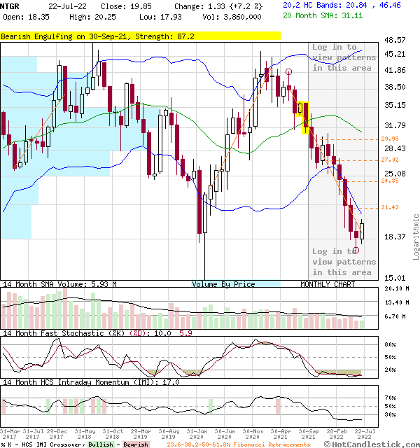 NTGR - Large Monthly Candlestick Stock Chart